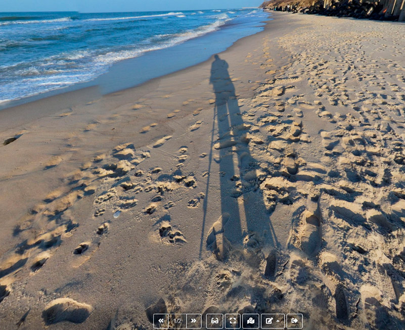Quality criteria of 360° panorama - The shadow of the photographer and the shadow of the tripod on the panorama